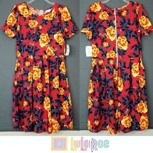🆕 LulaRoe Red Abstract Floral Print Amelia Dress